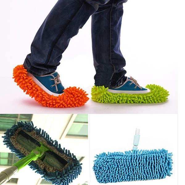 2pc Multi-Function Chenille Fibre Washable Dust Mop Slippers Cleaning Shoes