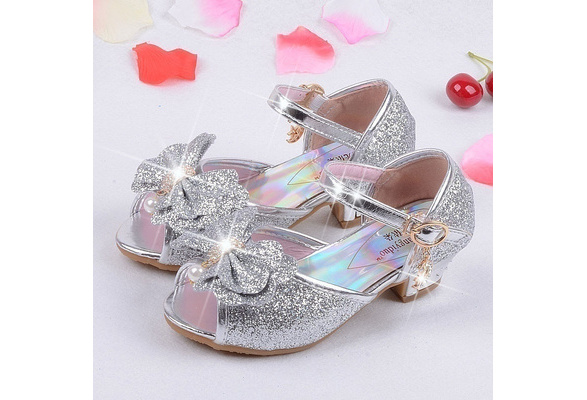 Kids Girls Princess Sandals Girls Wedding Shoes High Heels Dress Shoes Party Shoes For Girls Leather Bowtie