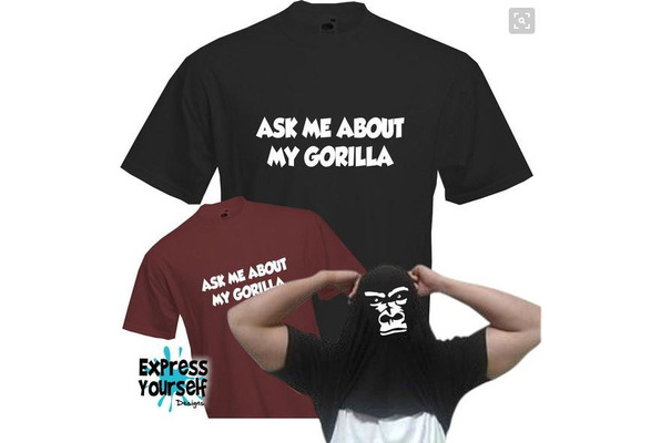 Retro Cool Funny Monkey Tee T Shirt Home Mens Ask Me About My Gorilla Flip T-shirt