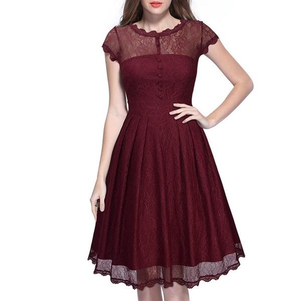 Wish Women Elegant Damen Kleider Spitzenkleid Cocktailkleid