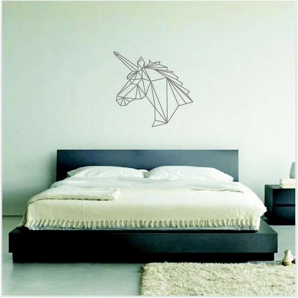 wish | geometric unicorn wall sticker removable horse head vinyl