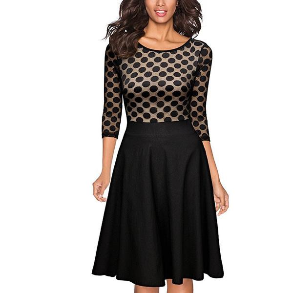 50520b31310bec Damen Elegant Abendkleid Vintage 50er Kleider mit Polka Dots Spitze  Partykleid 3/4 Arm Knielang Rockabilly Kleid Schwarz Gr.S-XXL
