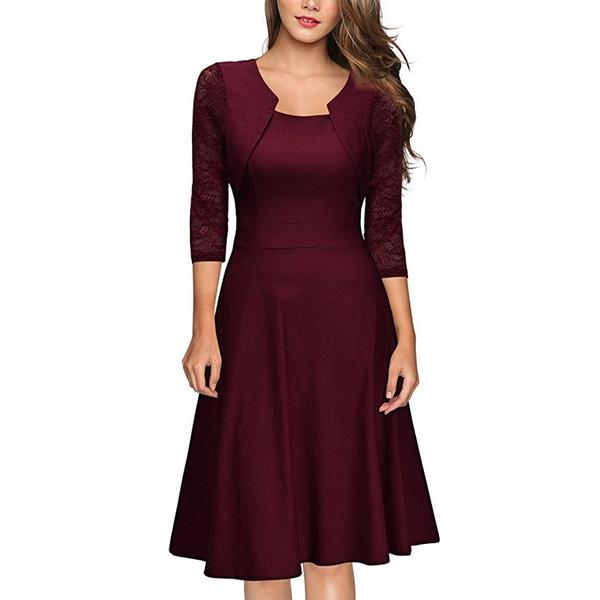 ff3776255a237 Damen Partykleider, A-line Kleid Abendkleid Elegant Cocktailkleid Vintag  Kleider 3/4 Arm mit Spitzen Knielang Party Kleid Weinrot Gr.36-46   Wish