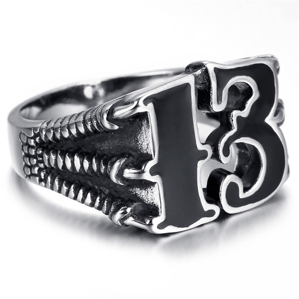 Men's Trendy Punk Dragon Claws With Lucky Number 13 Gold/Silver Titanium Steel Rings Jewelry by Wish