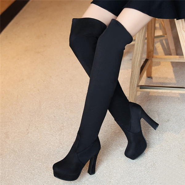 sports shoes d8afa a993b New Women Fashion Plus Size Suede Over- Knee Boots Red Bottom Suede Thigh  High Boots Platform Chunky Thick Heels Over-Knee Boots
