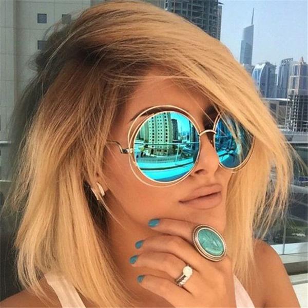 Women Fashion Oversize Round Sunglasses Large Size Big Retro Mirror Sun Glasses