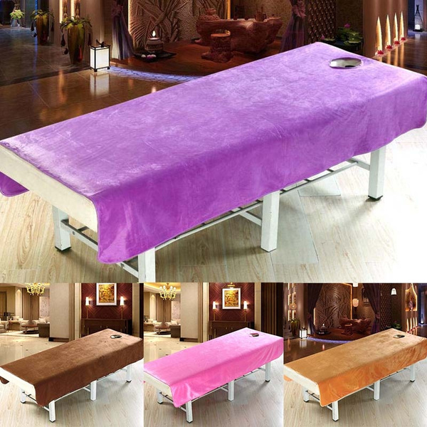 Beauty Plush Salon Sheet Spa Treatment Bed Cover Sheet With Face