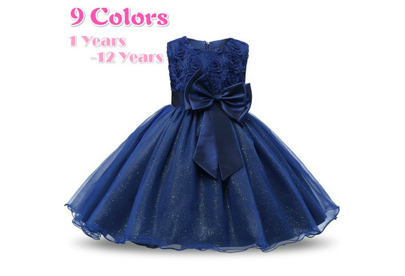 Children Girls Party Dresses Wedding Events Bridesmaid Dress Sweet Kids Baby Clothes Girl's Lace Chiffon Gown 8 Colors