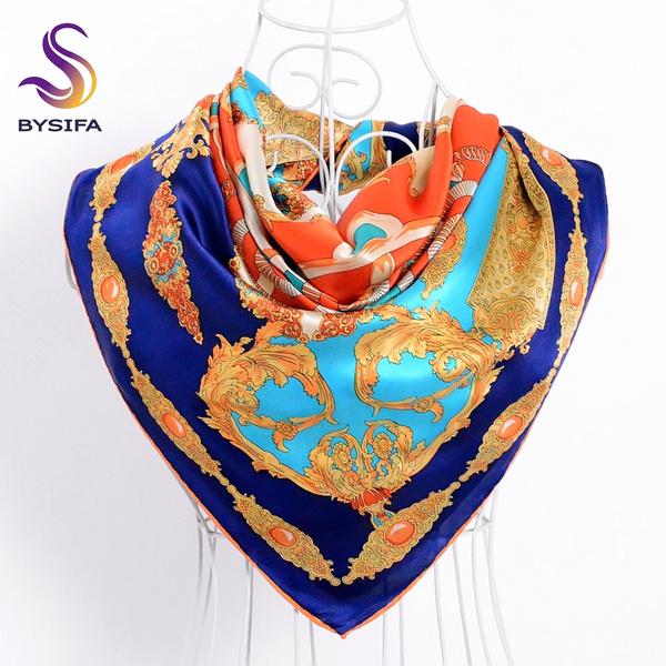 Fashion, crepesatinscarf, springautumnscarve, redscarve