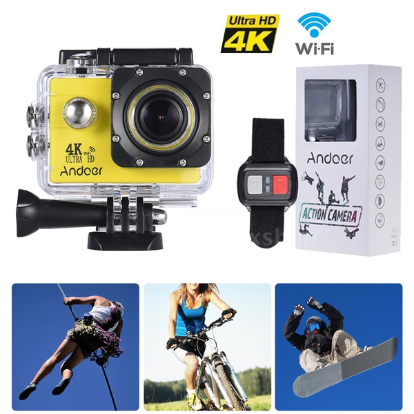 Remote control + Andoer AN4000 4K 30fps 16MP WiFi Sports Camera 1080P 60fps  Full HD 4X Zoom Waterproof 40m 2