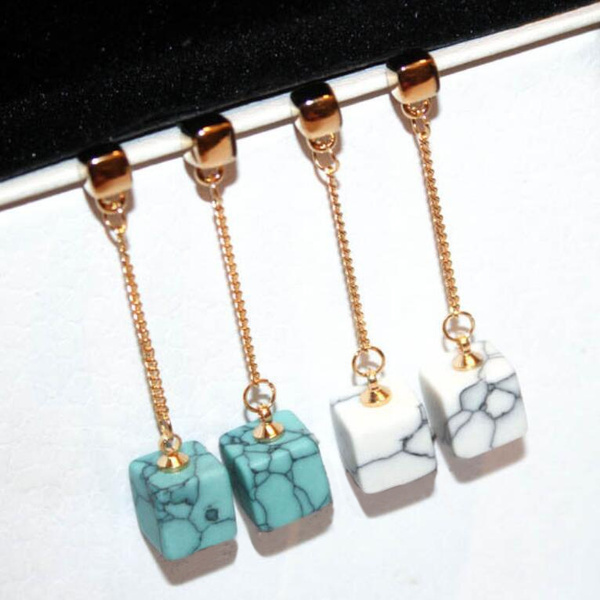 18K Real Gold Simple Long Square Natural Turquoise Stone Dangle Drop  Earrings Elegant Korean Mable Stone Chain Casual Tassels Jewelry  Accessories