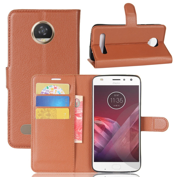 the latest 814cb 6cdd3 Business Style Mobile Phone Case for Motorola Moto Z2 Play, Flip Cover  Premium PU Leather Wallet Case Cover with Credit Card Slots Magnetic  Closure ...