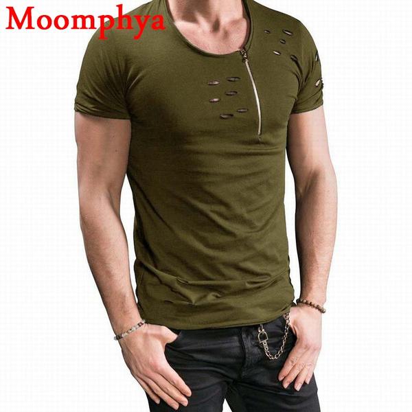 Moomphya new design Men neck zip holes t shirt men street wear casual  tshirt neck with size zip ripped distressed t-shirt men