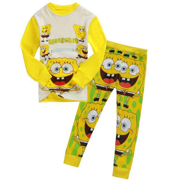 wish boys cotton pajamas cartoon casual sleepwear kids spongebob