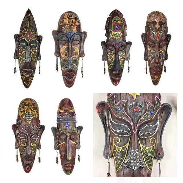 Wall Hanging African Mask Decor Decorative Tribal Wood Pendant Masks Resin Face Cool Sets