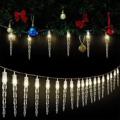 Led Weihnachten.30 Led Lichterkette Weihnachtsdeko Fensterdeko Eiszapfen Girlande Weihnachten