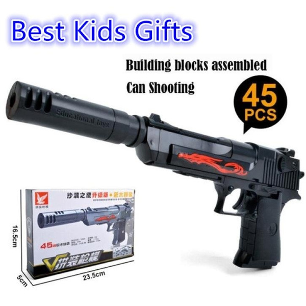Hot Combination toy Assembled silencer barrel Desert Eagle M92 modular toy  pistol Desert Eagle gun with combination blocks 777A Fashion Hot #caiml#