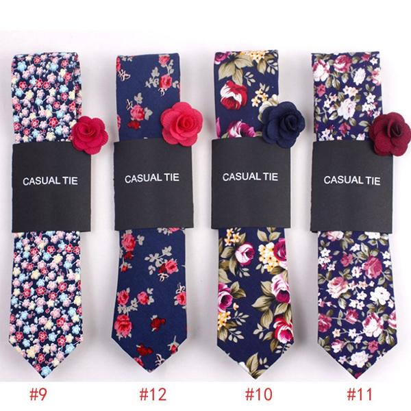 Fashion Men Floral Print Tie Suit Skinny Ties Slim Cotton Neck Tie Necktie