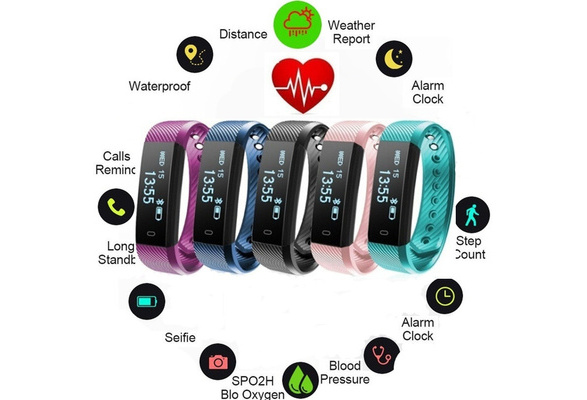 ID115 Smart Bluetooth Bracelet Fitness Tracker Pedometer Step Counter Call  Prompts Sports Activity Tracker Fitness Watch Band Alarm Clock Vibration