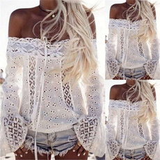 blouse, Women, off shoulder top, Lace