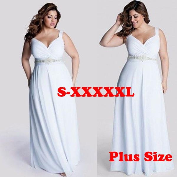 Women Wedding Dress White Lace Maxi Plus Size Party Dresses (S-5XL)