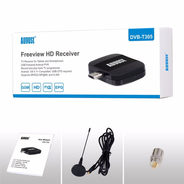 August DVB-T305 Portable Freeview HD TV Receiver for DVB-T/DVB-T2 Micro USB  TV Tuner for Android 4 1 Tablets Smartphones + PVR