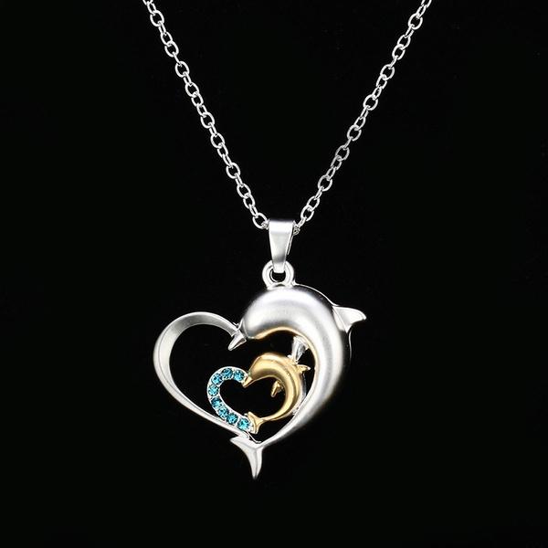 Elegant Sterling Silver Dolphin Heart-Shaped Love Pendant