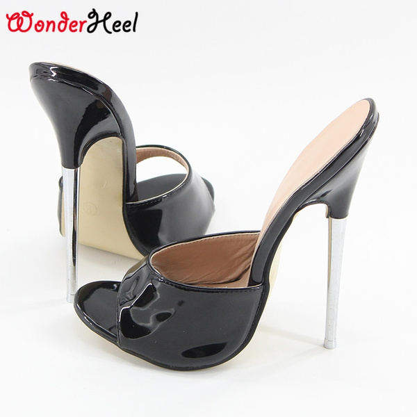 dd79aa8d9a2 Wonderheel summer Extreme high heel 18cm heel BLACK Sexy fetish slip on  stiletto metal heel fashion women sandals