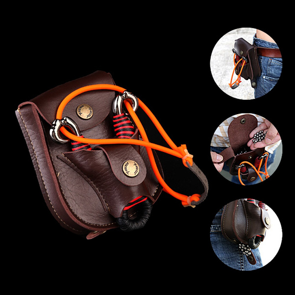 1XCatapult Hunting Slingshot Steel Balls Ammo Leather Case Waist Bag Pouch Brown