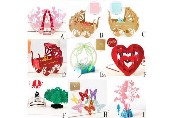 3D Pop Up Cards Wedding Lover Happy Birthday Anniversary Greeting Cards