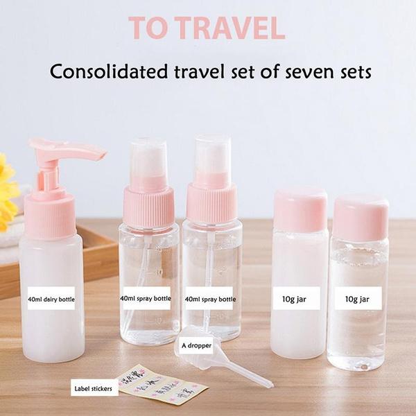 d6e95db1bcb1 7Pcs/1Set Mini Practical Refillable Empty Container Portable Travel Bottle  Set