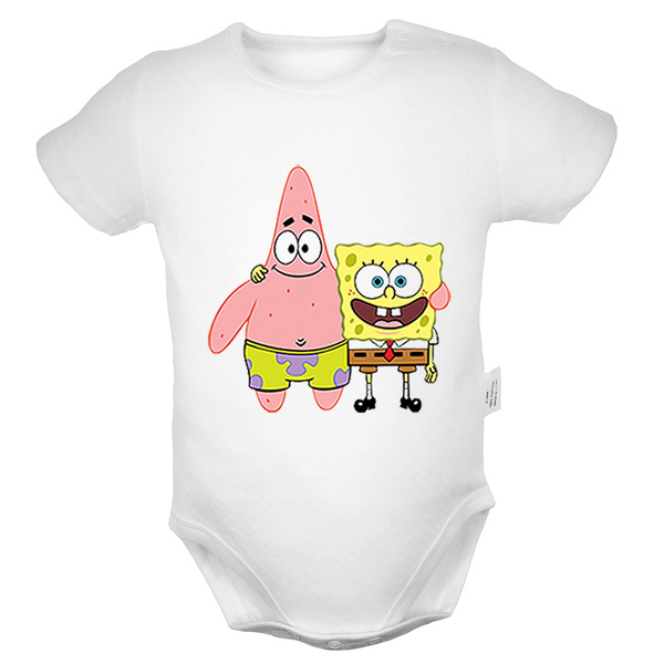 61c4dc91f Cute SpongeBob hugging Patrick Star Pattern Newborn Infant Baby Boys Girls  Cotton Romper Jumpsuit Bodysuit Clothes Outfits