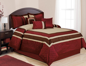 King, comforterburgundycolor, comforterpatchwork, embroiderycomforter