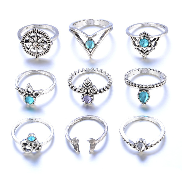 Wish | 9PC/Set Women Gold Silver Punk Vintage Knuckle Rings Crystal ...