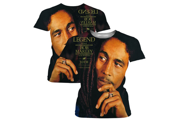 Reggae Legend Bob Marley 3D Print T-shirt Rock Style Black Classic Casual Cotton Short Sleeves