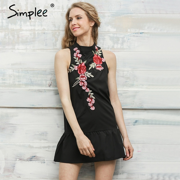 616b5d693c27 Simplee Flower embroidery women dress Sleeveless halter evening sexy ...