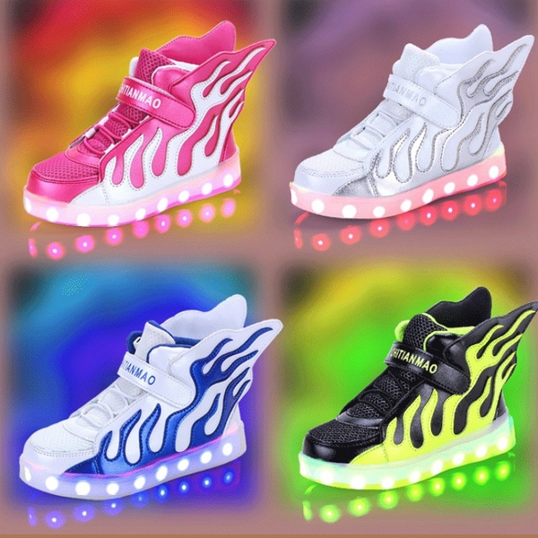 b871b559ed259 LED Light Up Velcro Wings Kids Dance Shoes Children USB Charger Sneakers  Boys Girls sports Luminous shoes (Pink,Green,Silver,Blue)Big size 25-37