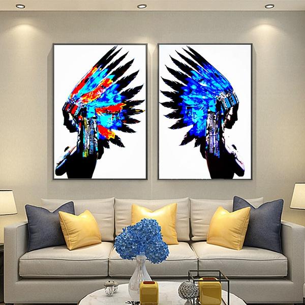 Frameless 2 Panel Wall Art Blue Feather