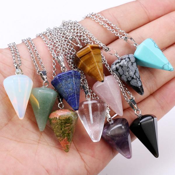 chaîne, quartz, cristal, gemme