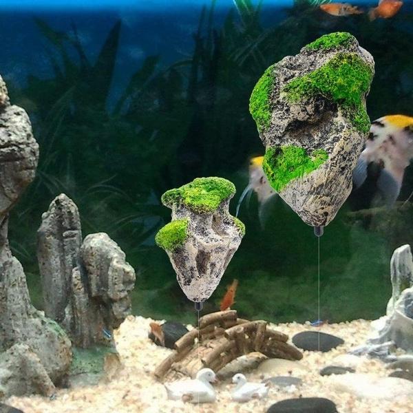 Floating Rock Suspended Stone Aquarium Fish Tank Underwater-Decor Landsca FAST