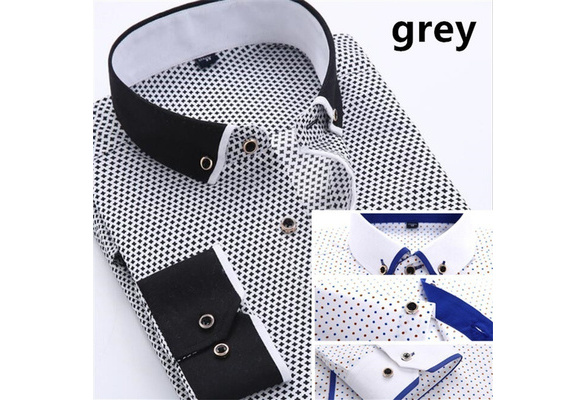 Men Fashion Long Sleeve Shirts Cotton Business Turn-down Collar Shirts Plus Size S-4XL