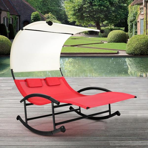 Ikayaa Outdoor Double Chaise Rocker W