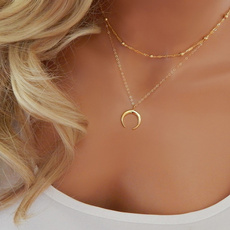 multilayernecklace, Chain Necklace, moonnecklace, Jewelry