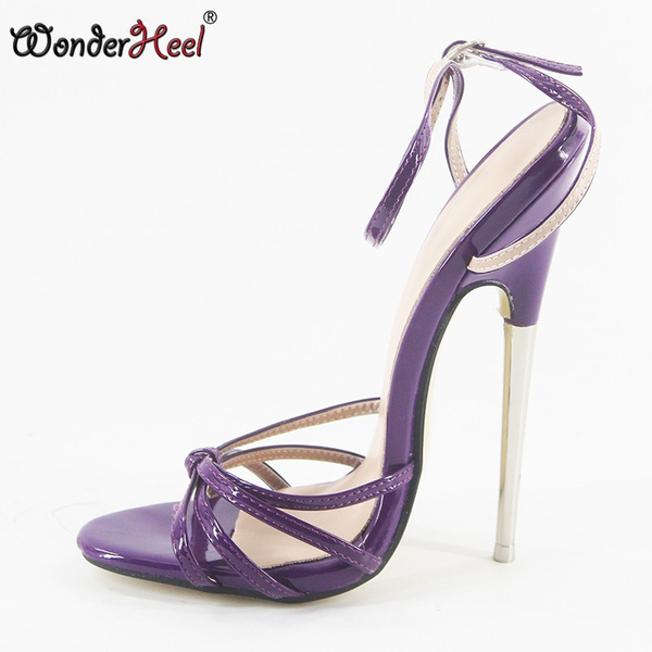 a28d0ba43ce Wonderheel summer Extreme high heel 18cm heel BLACK Sexy fetish High Heel  ankle strap WOMEN SANDALS with sky metal heel
