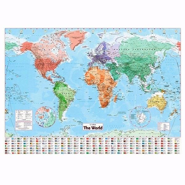 worldmapwallstickerhomeofficedeco New High Quality World Map Wall Map Of  The World Chart Political Flags Poster Home Art Decor Gift World Map  136*100 ...