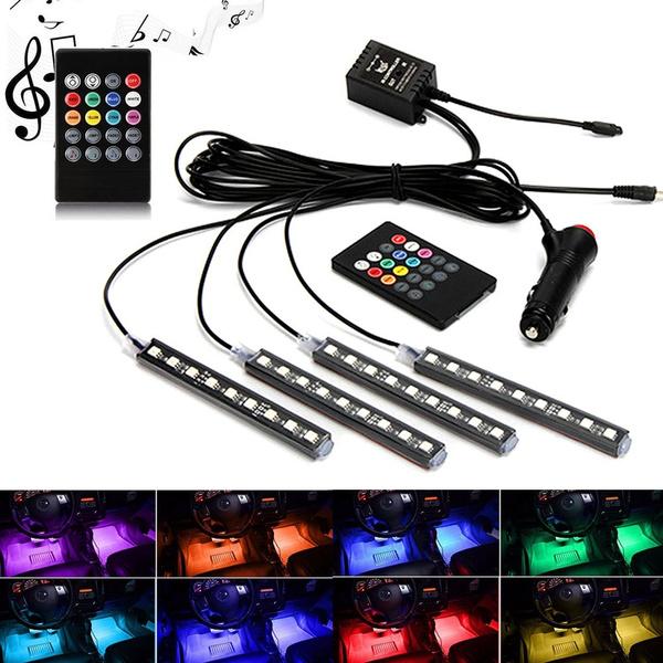 b9baeff5770 Remote/Voice/APP Control 4Pcs/Set 12V RGB LED Car Strip Light DRL ...