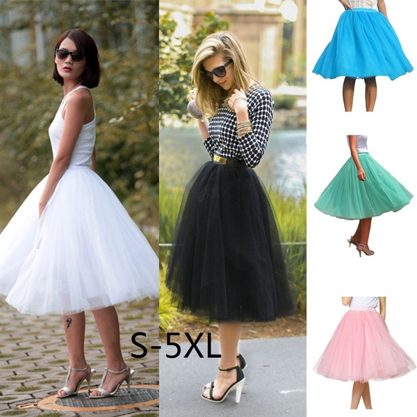 20ee9b13f0 Women's High quality 5 Layers Chiffon Puff Tulle Dress High waist Midi Knee  Length Chiffon plus size Grunge Jupe Female Tutu Skirts (S to 5XL)