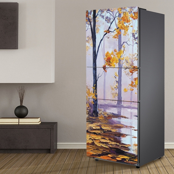 3d Diy Pvc Self Adhesive Fridge Wrap Refrigerator Door Sticker Wallpaper Peel Stick Fridge Refurbished Cover Size 60x150cm 60x180cm