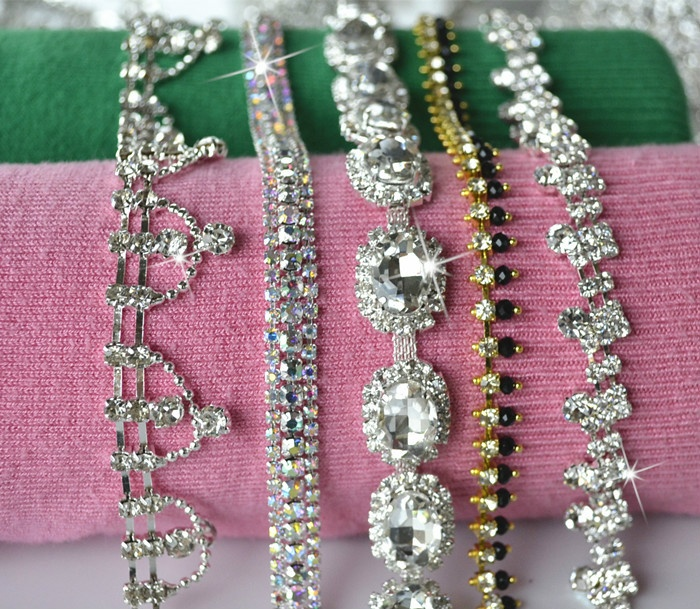 Rhinestone Chain Crystal Trim Diamante Wedding Craft Sewing Trimming ... 01f8601d3