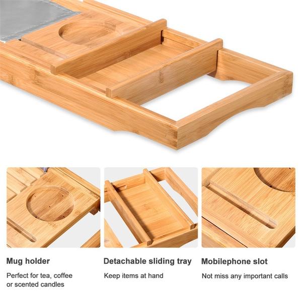 Wish | LANGRIA 100% Natural Bamboo Bathtub Caddy Tray Organizer ...